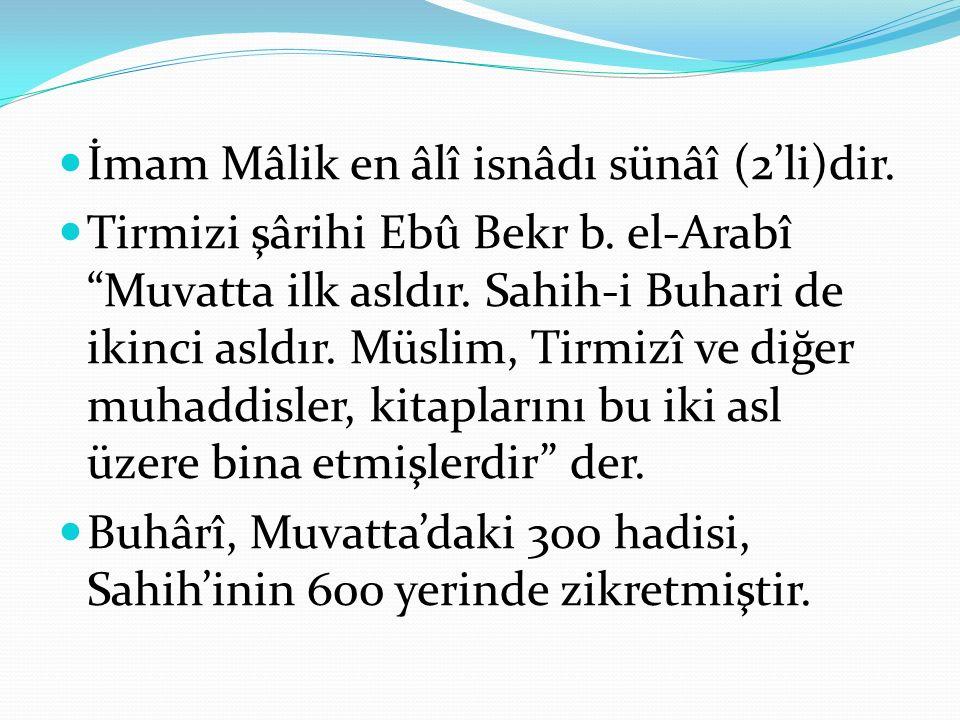 İmam Mâlik en âlî isnâdı sünâî (2'li)dir.