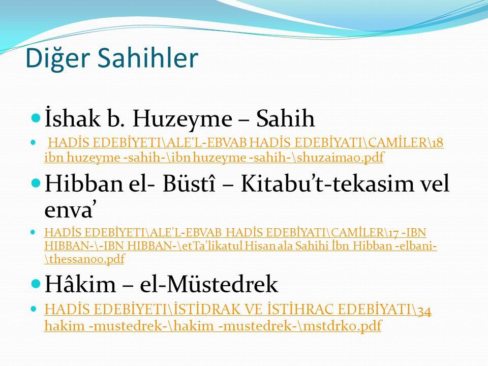 Diğer Sahihler İshak b. Huzeyme – Sahih