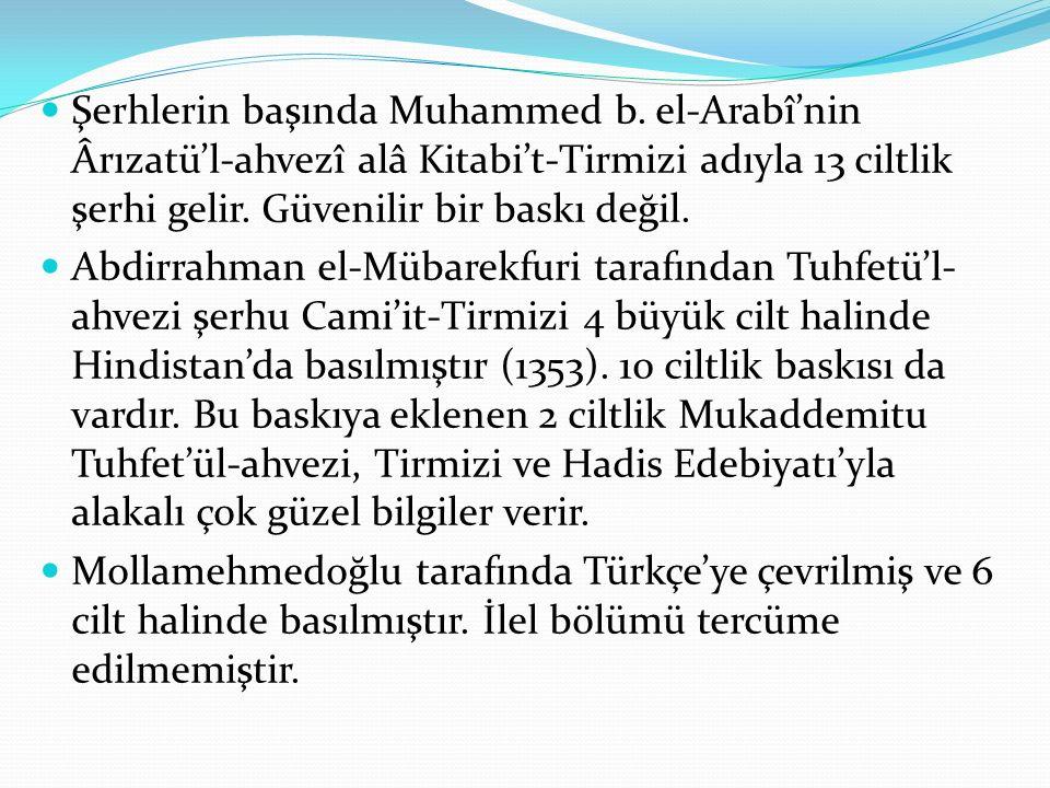 Şerhlerin başında Muhammed b