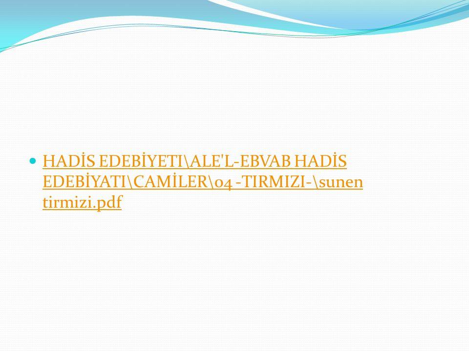 HADİS EDEBİYETI\ALE L-EBVAB HADİS EDEBİYATI\CAMİLER\04 -TIRMIZI-\sunen tirmizi.pdf