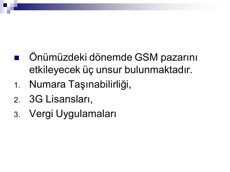 Önümüzdeki dönemde GSM pazarını etkileyecek üç unsur bulunmaktadır.