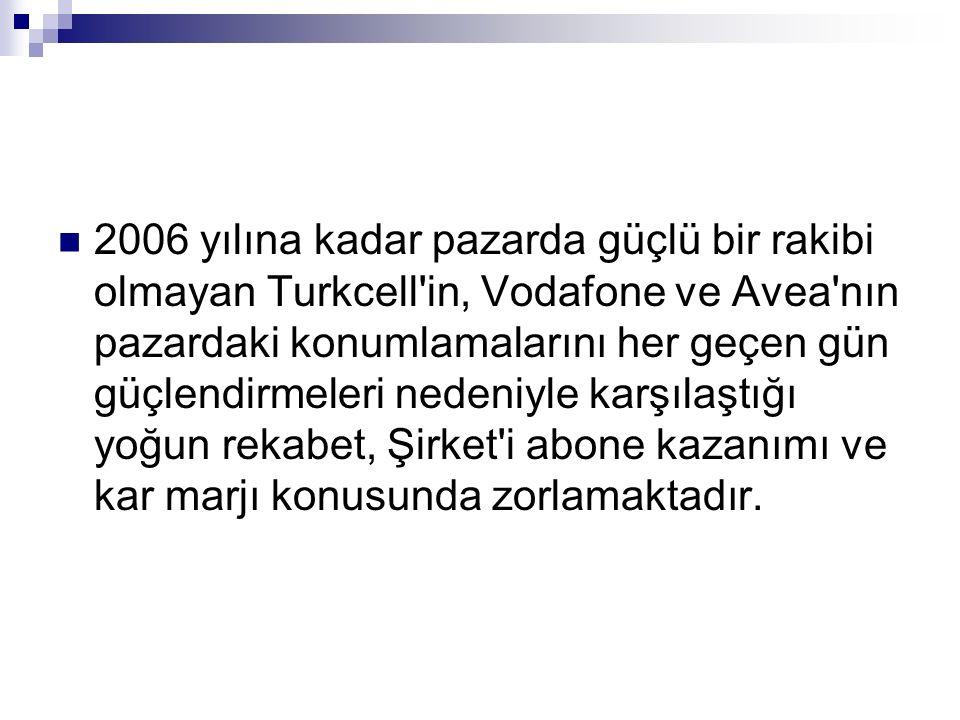 2006 yılına kadar pazarda güçlü bir rakibi olmayan Turkcell in, Vodafone ve Avea nın pazardaki konumlamalarını her geçen gün güçlendirmeleri nedeniyle karşılaştığı yoğun rekabet, Şirket i abone kazanımı ve kar marjı konusunda zorlamaktadır.