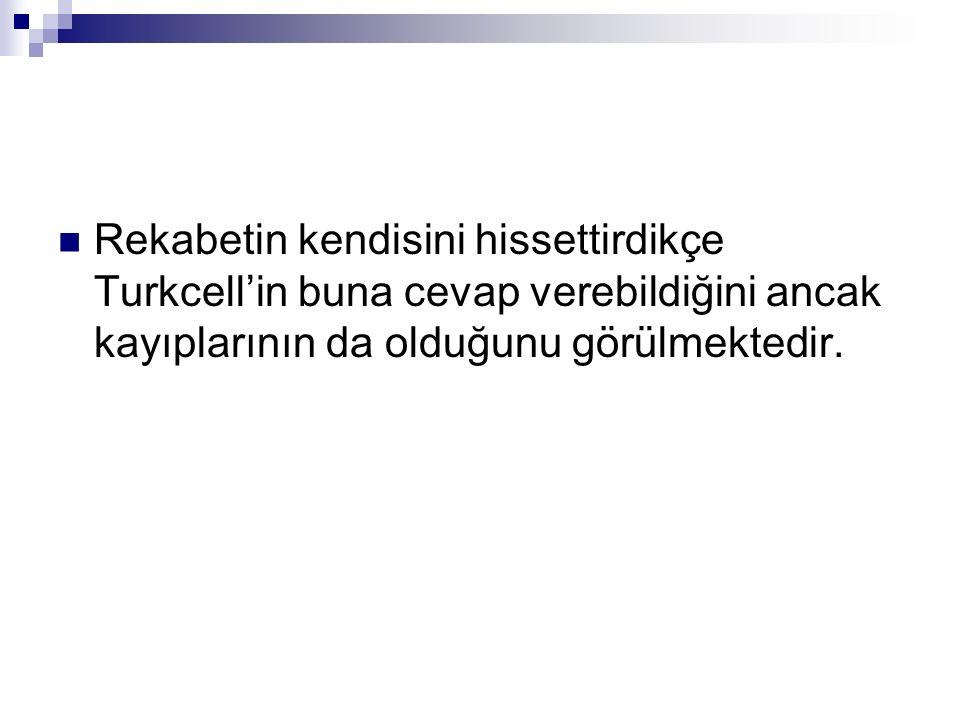 Rekabetin kendisini hissettirdikçe Turkcell'in buna cevap verebildiğini ancak kayıplarının da olduğunu görülmektedir.