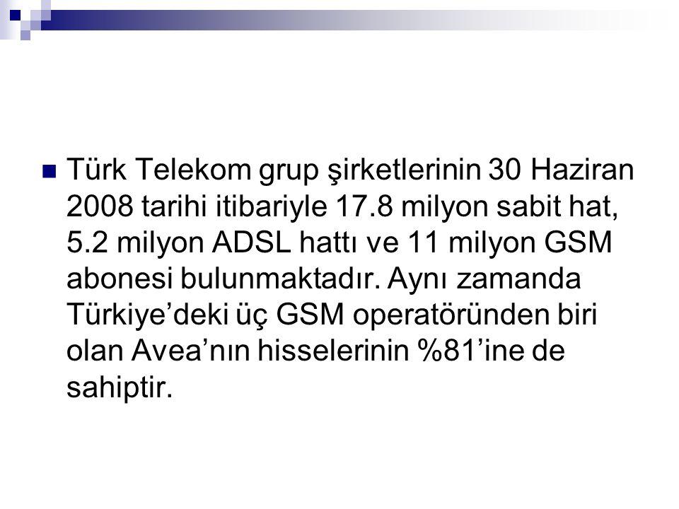 Türk Telekom grup şirketlerinin 30 Haziran 2008 tarihi itibariyle 17