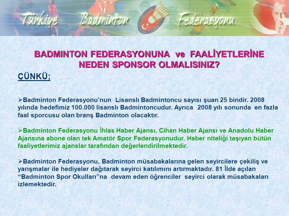 BADMINTON FEDERASYONUNA ve FAALİYETLERİNE NEDEN SPONSOR OLMALISINIZ