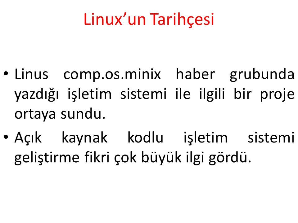 Linux'un Tarihçesi Linus comp.os.minix haber grubunda yazdığı işletim sistemi ile ilgili bir proje ortaya sundu.