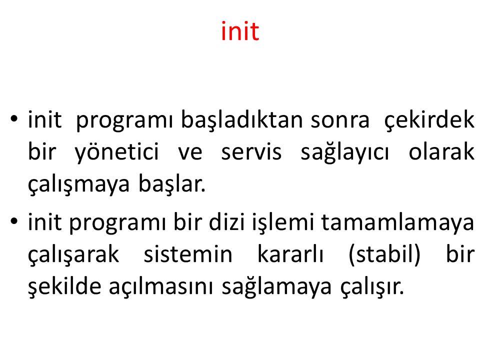 init init programı başladıktan sonra çekirdek bir yönetici ve servis sağlayıcı olarak çalışmaya başlar.