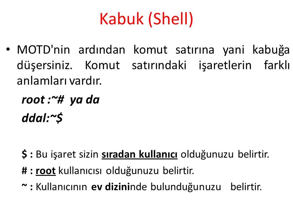 Kabuk (Shell) MOTD nin ardından komut satırına yani kabuğa düşersiniz. Komut satırındaki işaretlerin farklı anlamları vardır.