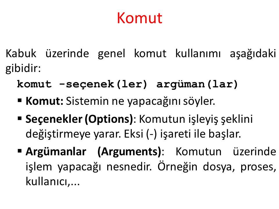 Komut Kabuk üzerinde genel komut kullanımı aşağıdaki gibidir: