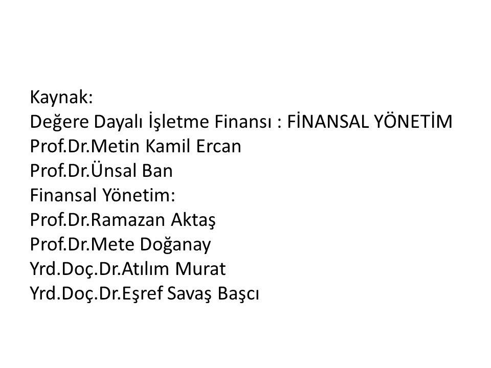 Kaynak: Değere Dayalı İşletme Finansı : FİNANSAL YÖNETİM Prof. Dr