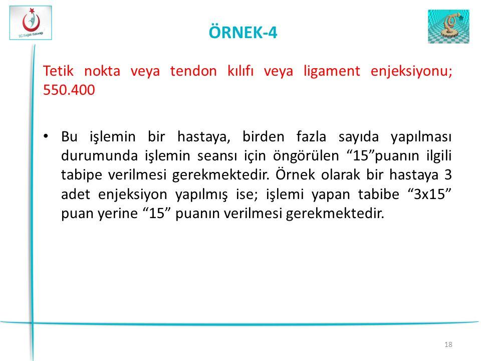 ÖRNEK-4 Tetik nokta veya tendon kılıfı veya ligament enjeksiyonu; 550.400.