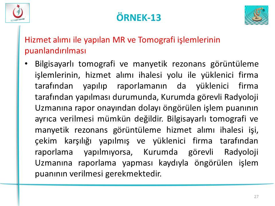 ÖRNEK-13 Hizmet alımı ile yapılan MR ve Tomografi işlemlerinin puanlandırılması.