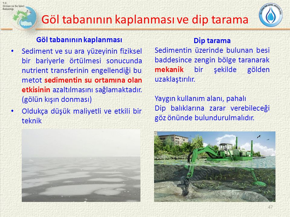 Göl tabanının kaplanması ve dip tarama