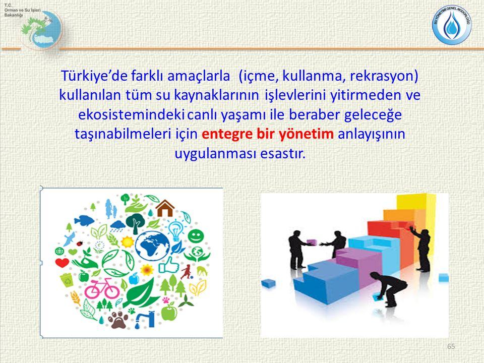 Türkiye'de farklı amaçlarla (içme, kullanma, rekrasyon) kullanılan tüm su kaynaklarının işlevlerini yitirmeden ve ekosistemindeki canlı yaşamı ile beraber geleceğe taşınabilmeleri için entegre bir yönetim anlayışının