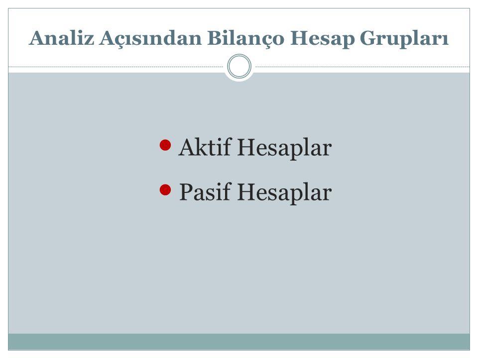 Analiz Açısından Bilanço Hesap Grupları