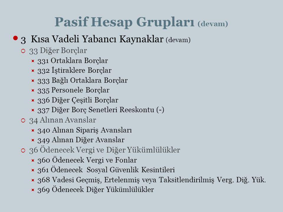 Pasif Hesap Grupları (devam)