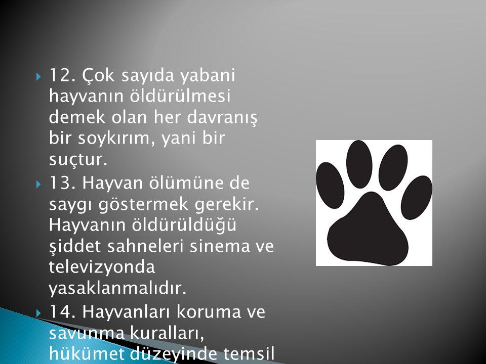 12. Çok sayıda yabani hayvanın öldürülmesi demek olan her davranış bir soykırım, yani bir suçtur.