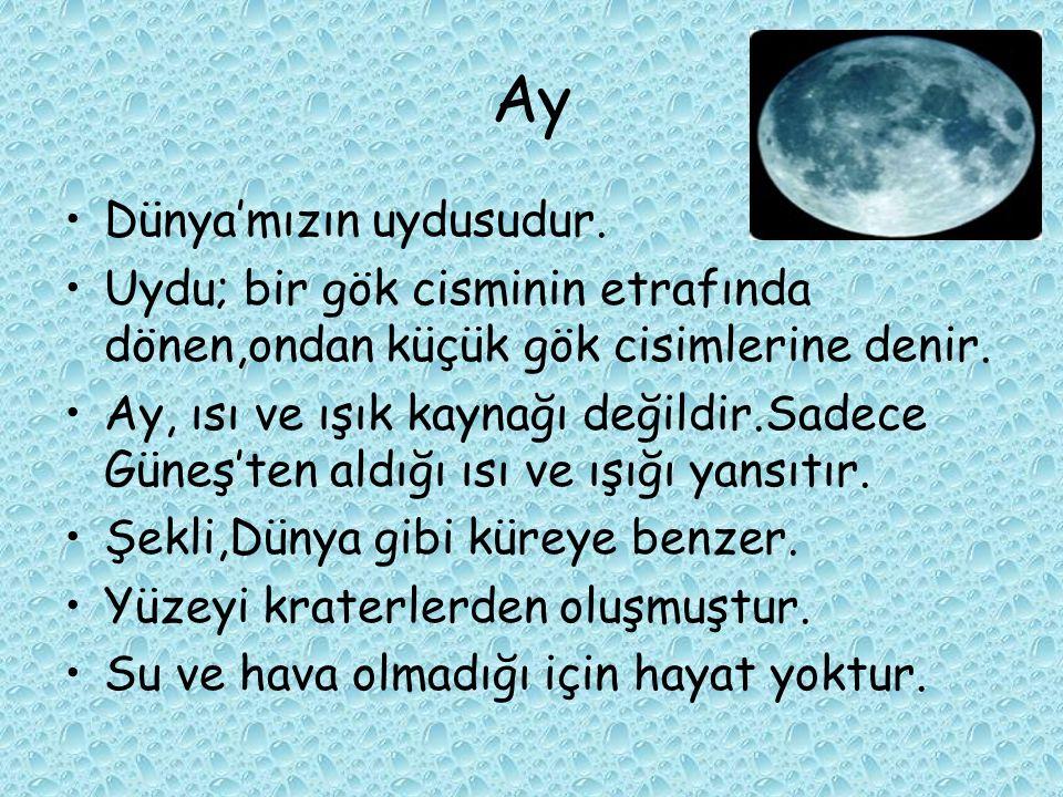 Ay Dünya'mızın uydusudur.