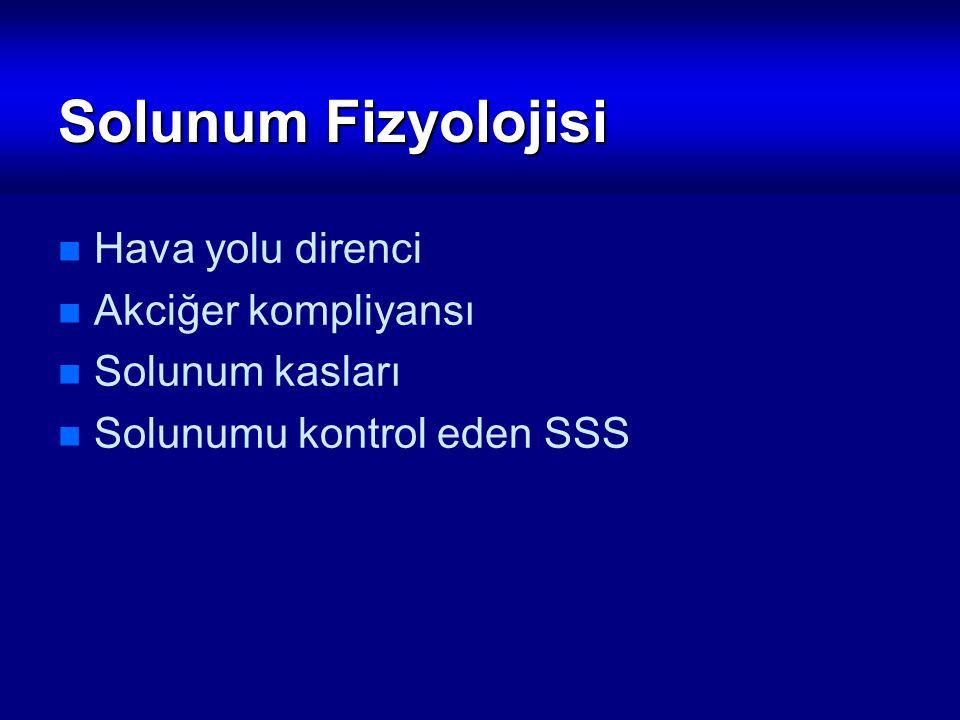 Solunum Fizyolojisi Hava yolu direnci Akciğer kompliyansı