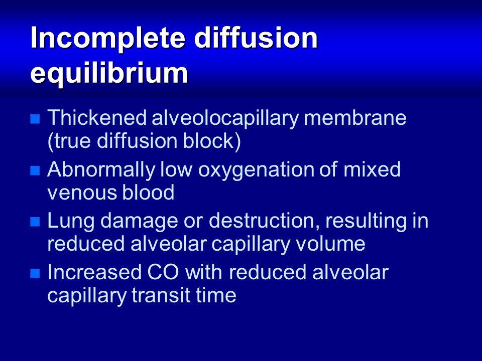 Incomplete diffusion equilibrium