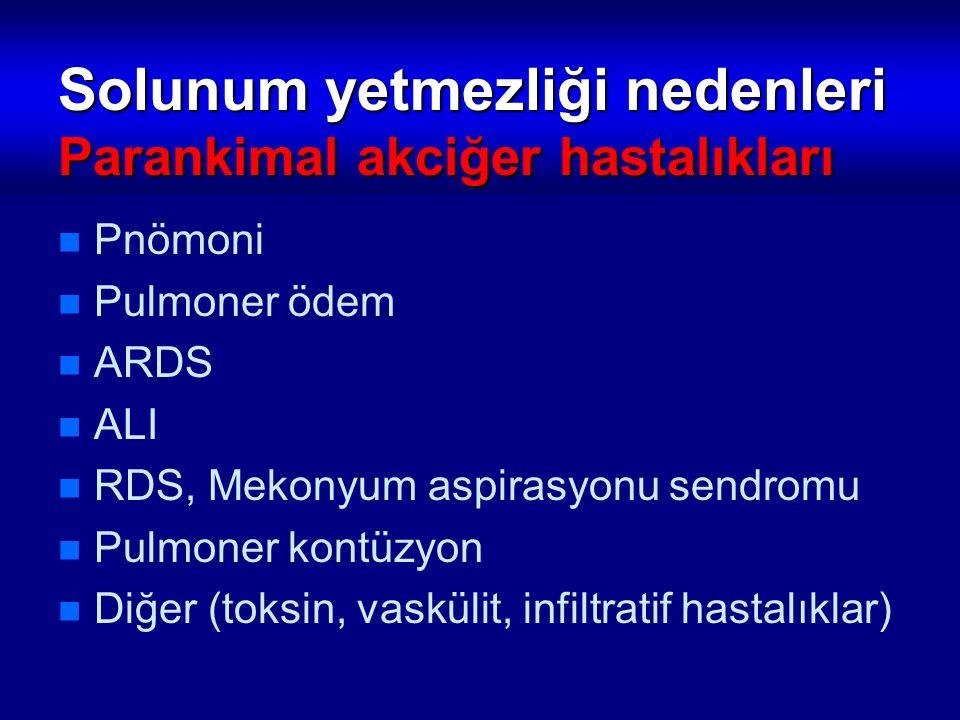 Solunum yetmezliği nedenleri Parankimal akciğer hastalıkları