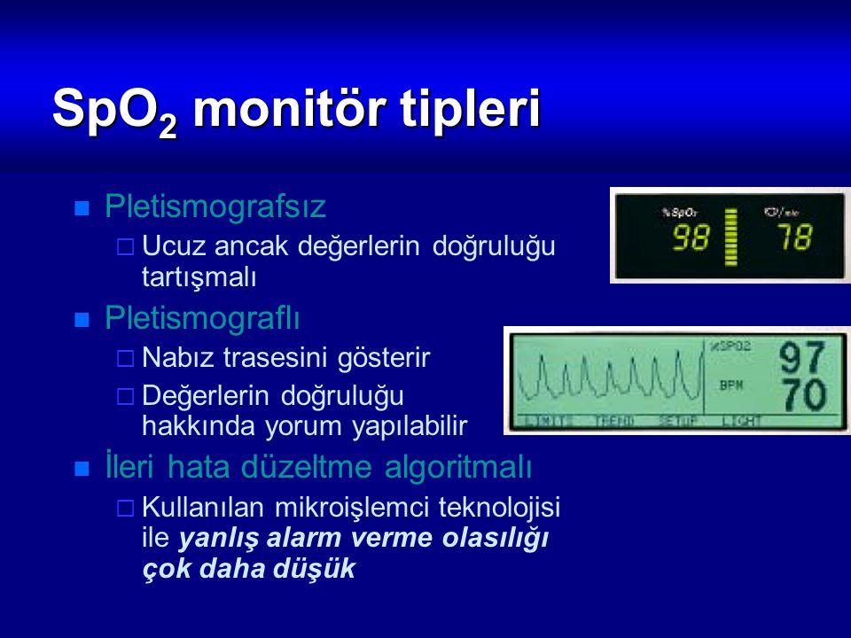 SpO2 monitör tipleri Pletismografsız Pletismograflı