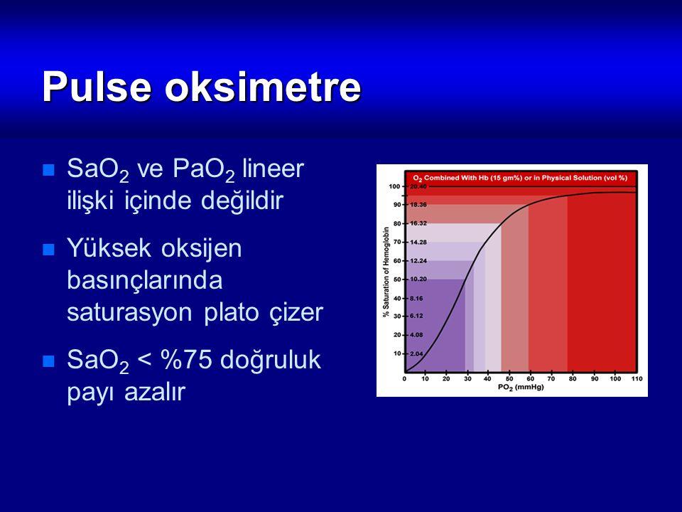 Pulse oksimetre SaO2 ve PaO2 lineer ilişki içinde değildir