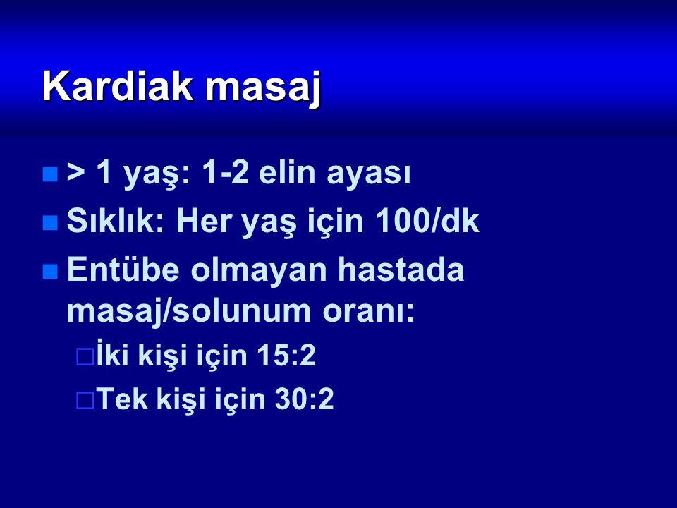 Kardiak masaj > 1 yaş: 1-2 elin ayası Sıklık: Her yaş için 100/dk