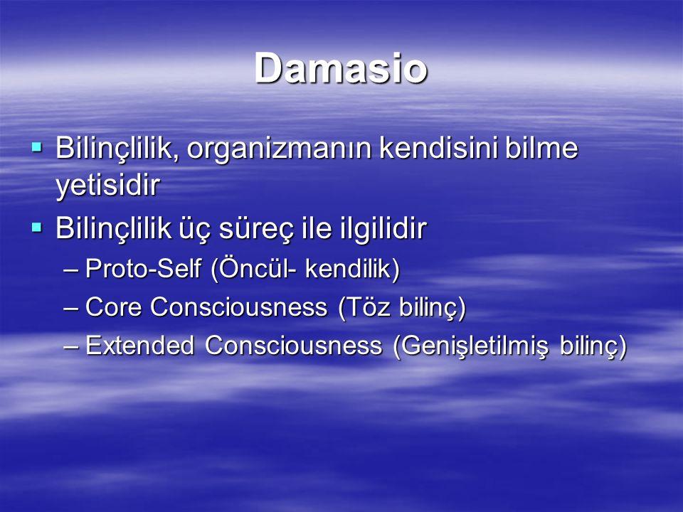Damasio Bilinçlilik, organizmanın kendisini bilme yetisidir