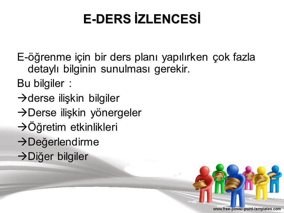 E-DERS İZLENCESİ E-öğrenme için bir ders planı yapılırken çok fazla detaylı bilginin sunulması gerekir.