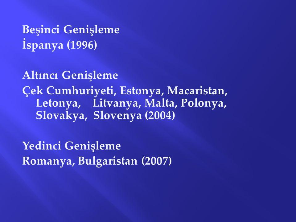 Beşinci Genişleme İspanya (1996) Altıncı Genişleme.