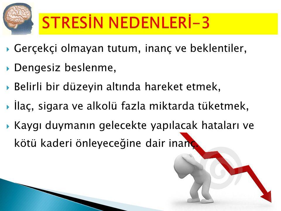 STRESİN NEDENLERİ-3 Gerçekçi olmayan tutum, inanç ve beklentiler,