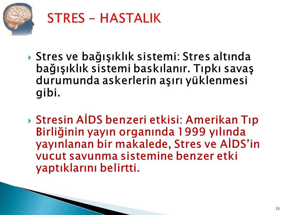 STRES - HASTALIK Stres ve bağışıklık sistemi: Stres altında bağışıklık sistemi baskılanır. Tıpkı savaş durumunda askerlerin aşırı yüklenmesi gibi.