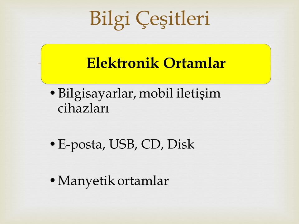 Bilgi Çeşitleri Elektronik Ortamlar