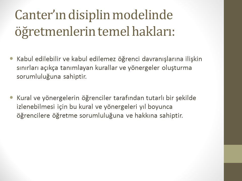 Canter'ın disiplin modelinde öğretmenlerin temel hakları: