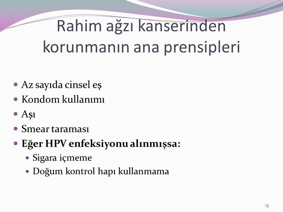 Rahim ağzı kanserinden korunmanın ana prensipleri
