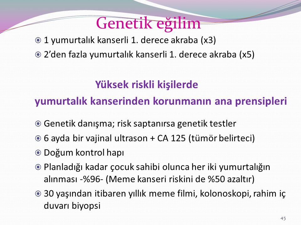 Genetik eğilim yumurtalık kanserinden korunmanın ana prensipleri