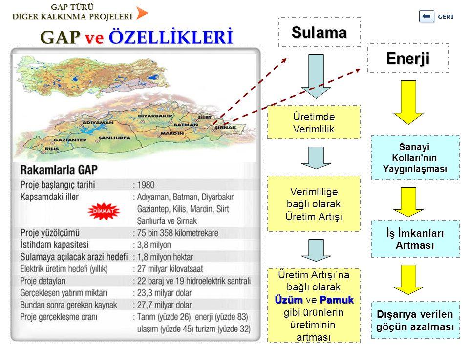 GAP ve ÖZELLİKLERİ Sulama Enerji Üretimde Verimlilik