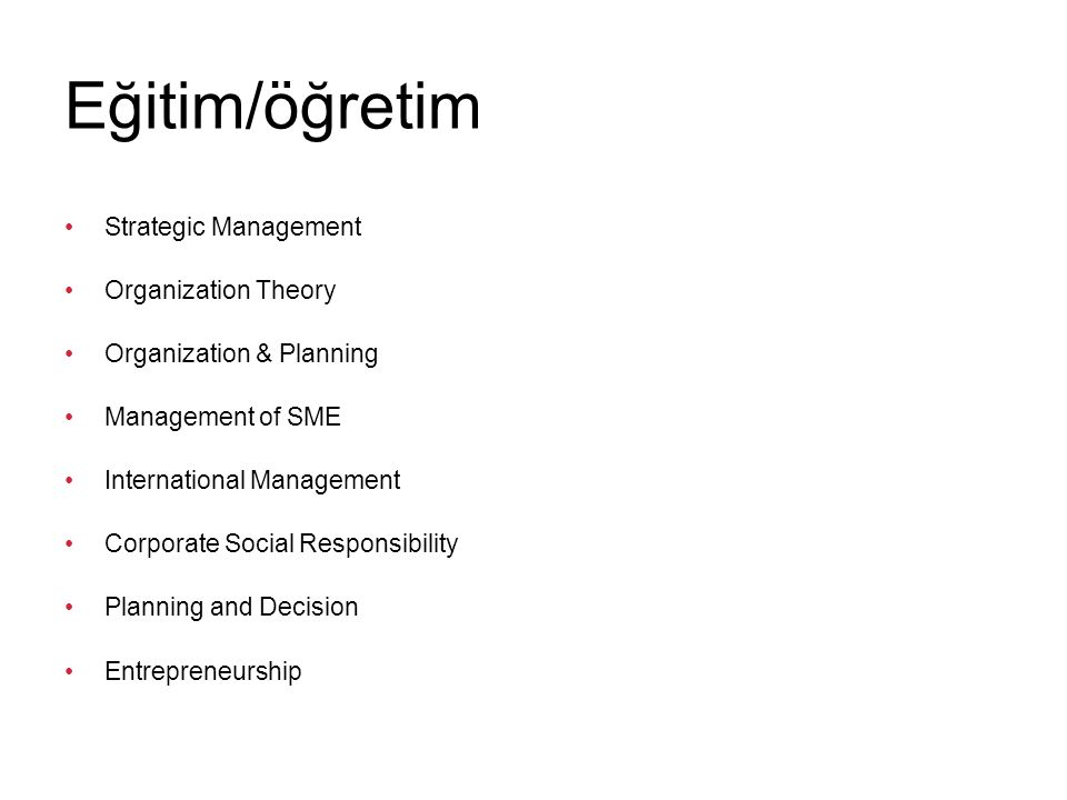 Eğitim/öğretim Strategic Management Organization Theory