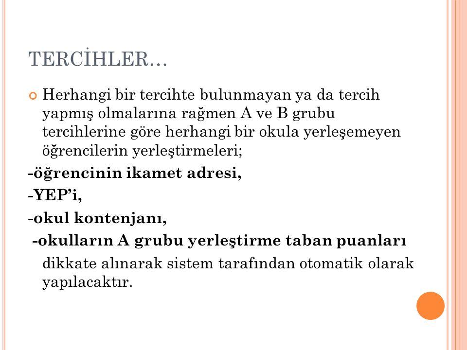 TERCİHLER…