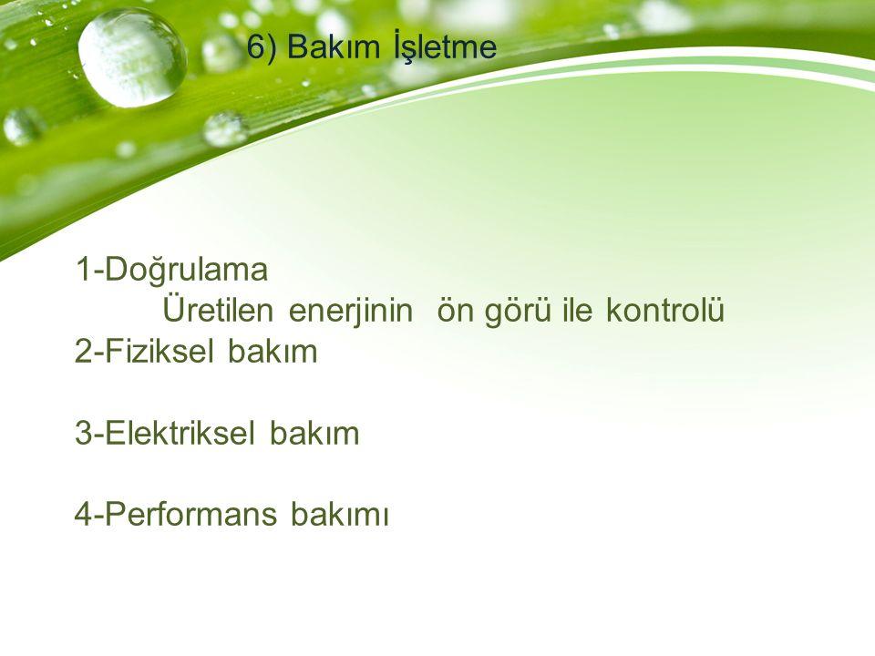 6) Bakım İşletme 1-Doğrulama Üretilen enerjinin ön görü ile kontrolü 2-Fiziksel bakım 3-Elektriksel bakım 4-Performans bakımı.
