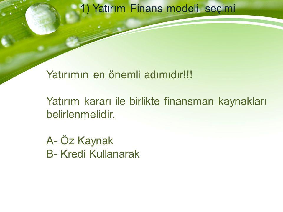 1) Yatırım Finans modeli seçimi