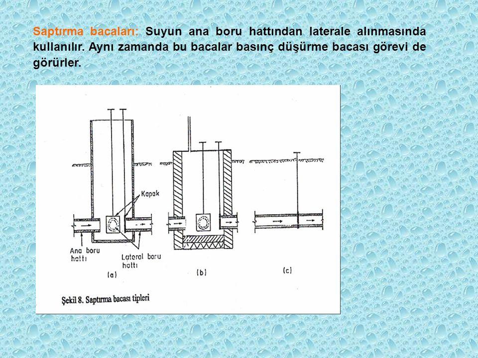 Saptırma bacaları: Suyun ana boru hattından laterale alınmasında kullanılır.
