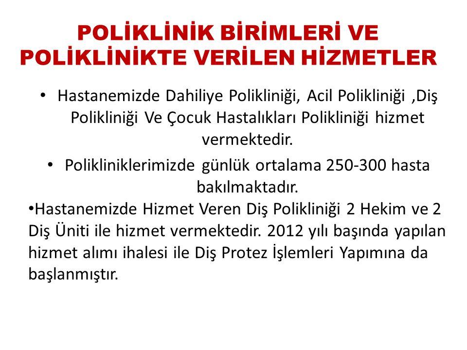 POLİKLİNİK BİRİMLERİ VE POLİKLİNİKTE VERİLEN HİZMETLER