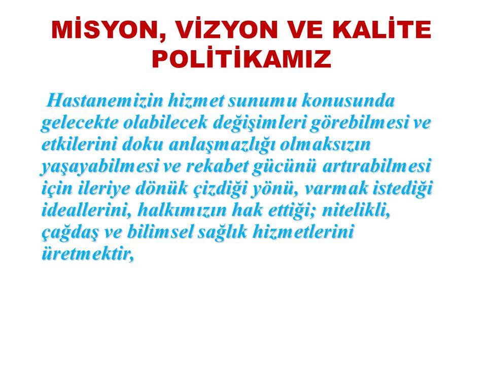 MİSYON, VİZYON VE KALİTE POLİTİKAMIZ