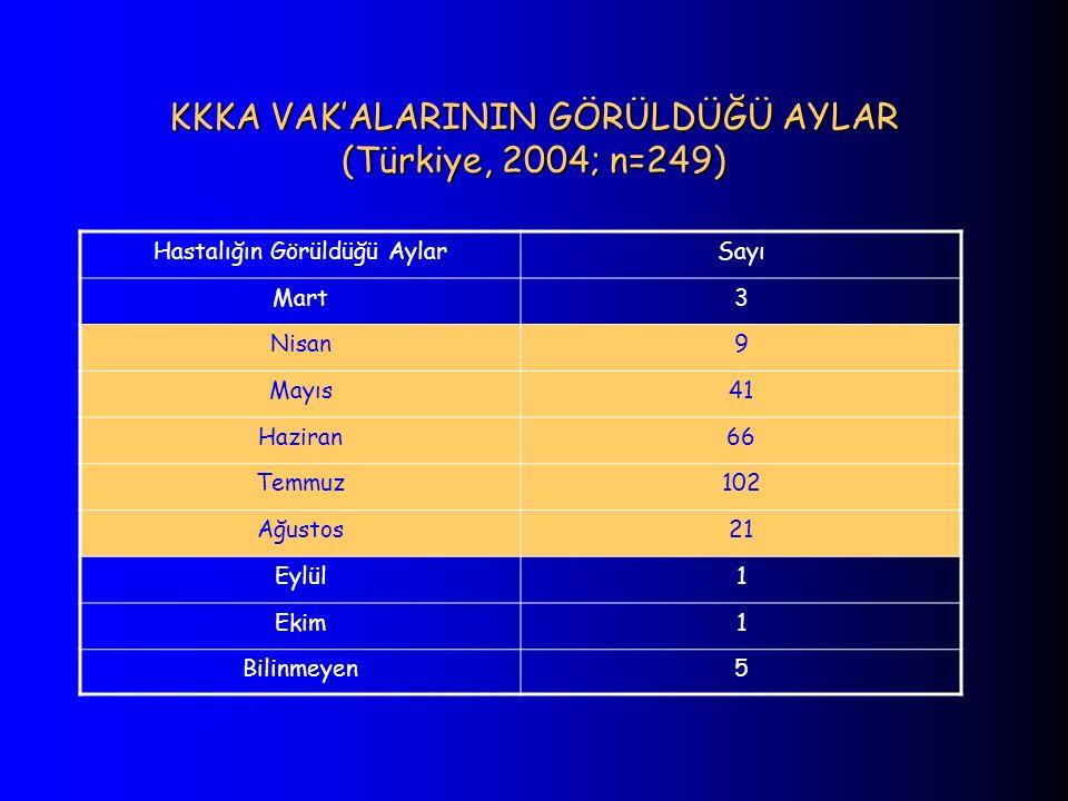 KKKA VAK'ALARININ GÖRÜLDÜĞÜ AYLAR (Türkiye, 2004; n=249)