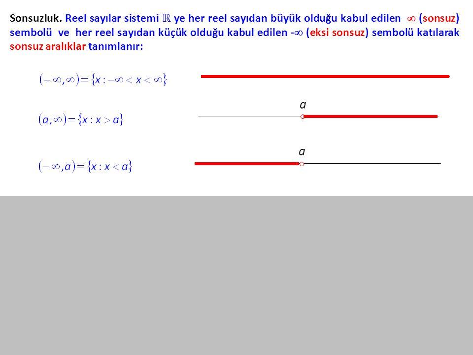 Sonsuzluk. Reel sayılar sistemi ℝ ye her reel sayıdan büyük olduğu kabul edilen  (sonsuz) sembolü ve her reel sayıdan küçük olduğu kabul edilen - (eksi sonsuz) sembolü katılarak sonsuz aralıklar tanımlanır: