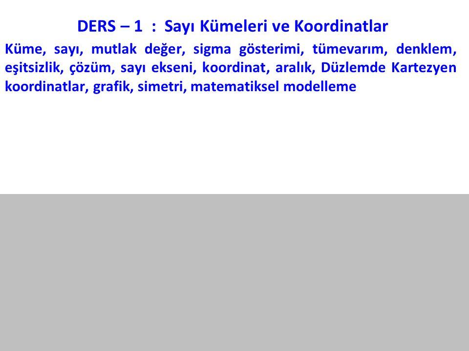 DERS – 1 : Sayı Kümeleri ve Koordinatlar