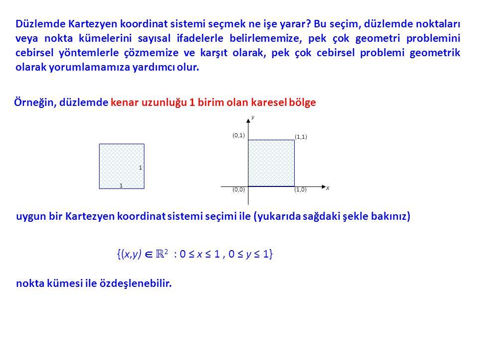 Örneğin, düzlemde kenar uzunluğu 1 birim olan karesel bölge