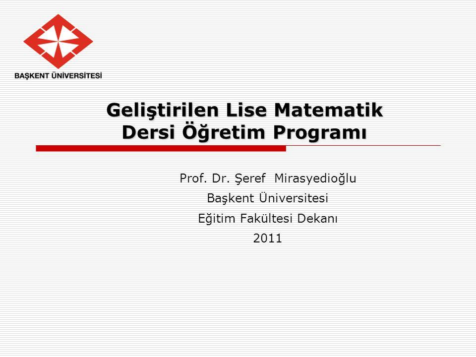 Geliştirilen Lise Matematik Dersi Öğretim Programı